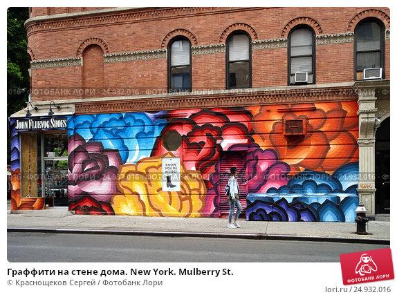 Купить «Граффити на стене дома. New York. Mulberry St.», фото № 24932016, снято 13 мая 2016 г. (c) Краснощеков Сергей / Фотобанк Лори