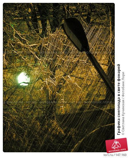 Графика снегопада в свете фонарей, фото № 147160, снято 22 июля 2017 г. (c) Светлана Кучинская / Фотобанк Лори