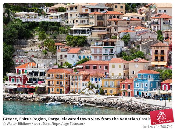 Купить «Greece, Epirus Region, Parga, elevated town view from the Venetian Castle.», фото № 14708740, снято 28 мая 2013 г. (c) age Fotostock / Фотобанк Лори