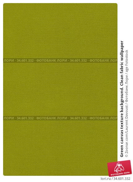 Green canvas texture background. Clean fabric wallpaper. Стоковое фото, фотограф Zoonar.com/Laurent Davoust / age Fotostock / Фотобанк Лори