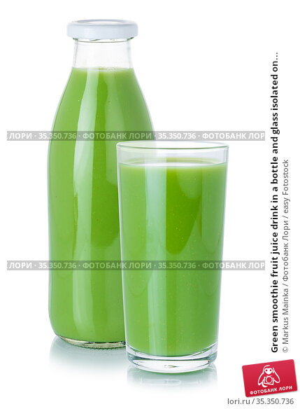 Green smoothie fruit juice drink in a bottle and glass isolated on... Стоковое фото, фотограф Markus Mainka / easy Fotostock / Фотобанк Лори