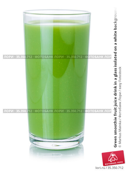 Green smoothie fruit juice drink in a glass isolated on a white background... Стоковое фото, фотограф Markus Mainka / easy Fotostock / Фотобанк Лори