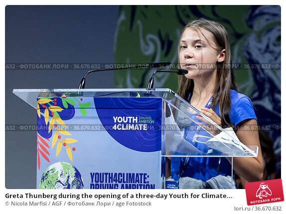 Greta Thunberg during the opening of a three-day Youth for Climate... Редакционное фото, фотограф Nicola Marfisi / AGF / age Fotostock / Фотобанк Лори