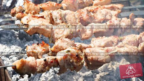 Купить «Grilled appetizing kebab cooking on metal skewers», видеоролик № 30206888, снято 22 августа 2019 г. (c) FotograFF / Фотобанк Лори