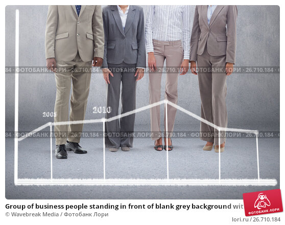 Купить «Group of business people standing in front of blank grey background with statistic chart», фото № 26710184, снято 27 мая 2019 г. (c) Wavebreak Media / Фотобанк Лори