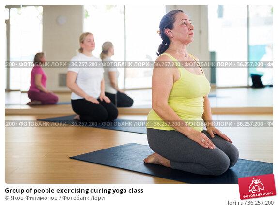 Group of people exercising during yoga class. Стоковое фото, фотограф Яков Филимонов / Фотобанк Лори