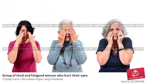 Group of tired and fatigued weman who hurt their eyes. Стоковое фото, фотограф Josep Curto / easy Fotostock / Фотобанк Лори