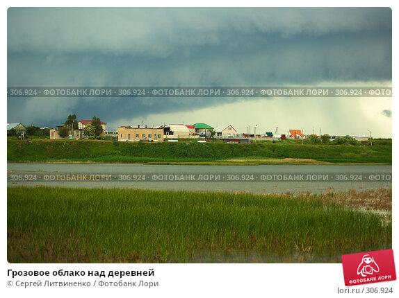 Купить «Грозовое облако над деревней», фото № 306924, снято 1 июня 2008 г. (c) Сергей Литвиненко / Фотобанк Лори