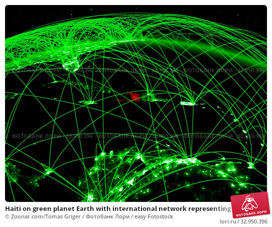 Haiti on green planet Earth with international network representing communication, travel and connections. 3D illustration. Elements of this image furnished by NASA. Стоковое фото, фотограф Zoonar.com/Tomas Griger / easy Fotostock / Фотобанк Лори