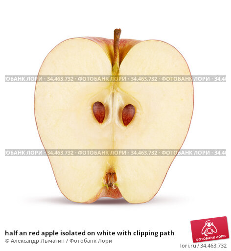 half an red apple isolated on white with clipping path. Стоковое фото, фотограф Александр Лычагин / Фотобанк Лори