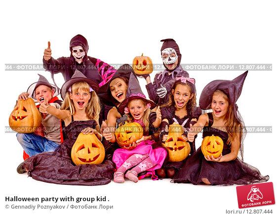 Купить «Halloween party with group kid .», фото № 12807444, снято 26 сентября 2012 г. (c) Gennadiy Poznyakov / Фотобанк Лори