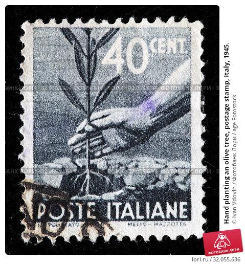 Hand planting an olive tree, postage stamp, Italy, 1945. (2010 год). Редакционное фото, фотограф Ivan Vdovin / age Fotostock / Фотобанк Лори