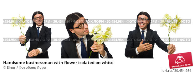 Handsome businessman with flower isolated on white. Стоковое фото, фотограф Elnur / Фотобанк Лори