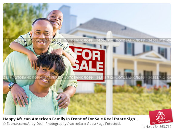 Happy African American Family In Front of For Sale Real Estate Sign... Стоковое фото, фотограф Zoonar.com/Andy Dean Photography / age Fotostock / Фотобанк Лори