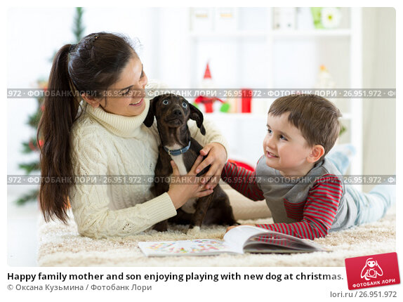 Happy family mother and son enjoying playing with new dog at christmas., фото № 26951972, снято 3 мая 2017 г. (c) Оксана Кузьмина / Фотобанк Лори