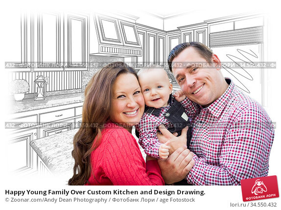 Happy Young Family Over Custom Kitchen and Design Drawing. Стоковое фото, фотограф Zoonar.com/Andy Dean Photography / age Fotostock / Фотобанк Лори