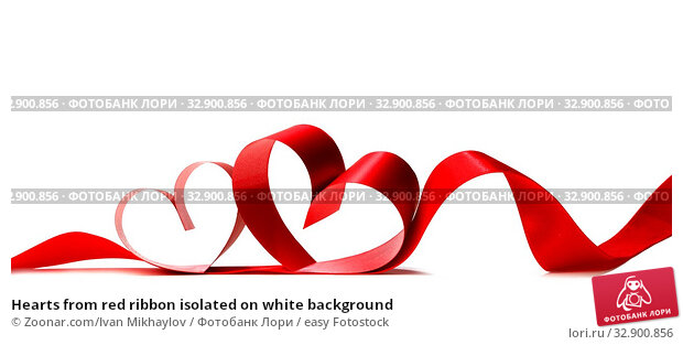 Hearts from red ribbon isolated on white background. Стоковое фото, фотограф Zoonar.com/Ivan Mikhaylov / easy Fotostock / Фотобанк Лори