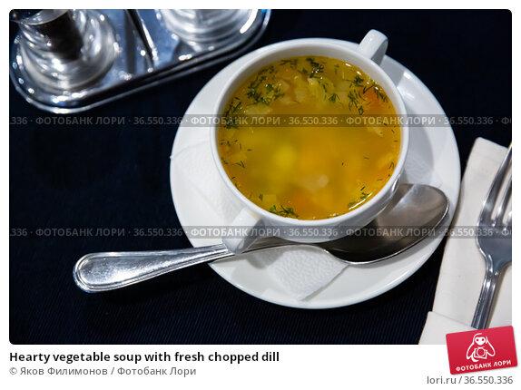 Hearty vegetable soup with fresh chopped dill. Стоковое фото, фотограф Яков Филимонов / Фотобанк Лори