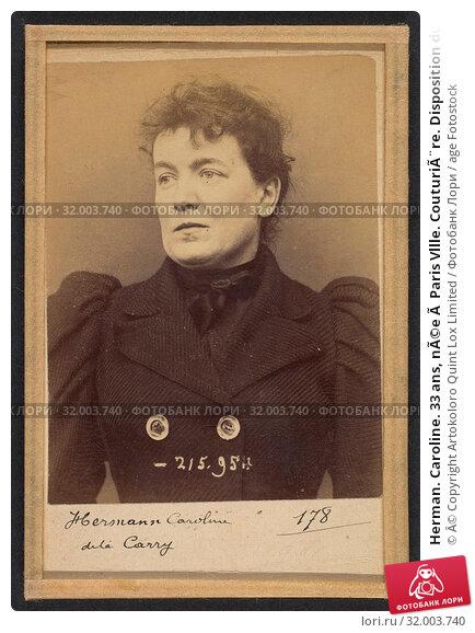 Купить «Herman. Caroline. 33 ans, née à Paris Vllle. Couturière. Disposition du Préfet (Anarchie). 21/3/94. , 1894, Albumen silver print from glass negative...», фото № 32003740, снято 21 мая 2017 г. (c) age Fotostock / Фотобанк Лори
