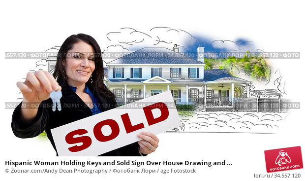 Hispanic Woman Holding Keys and Sold Sign Over House Drawing and ... Стоковое фото, фотограф Zoonar.com/Andy Dean Photography / age Fotostock / Фотобанк Лори