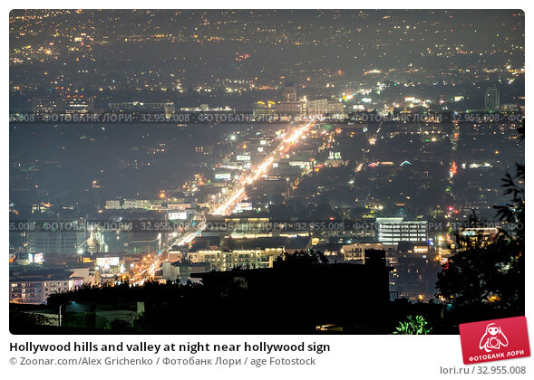 Hollywood hills and valley at night near hollywood sign. Стоковое фото, фотограф Zoonar.com/Alex Grichenko / age Fotostock / Фотобанк Лори
