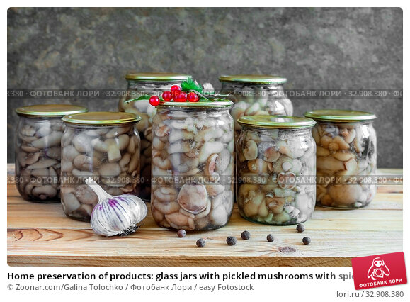 Home preservation of products: glass jars with pickled mushrooms with spices closed. Стоковое фото, фотограф Zoonar.com/Galina Tolochko / easy Fotostock / Фотобанк Лори
