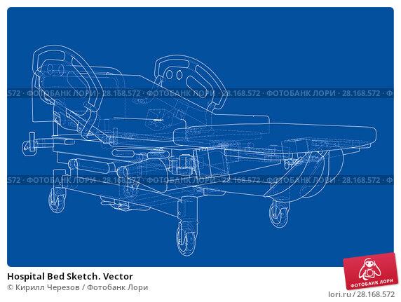 Купить «Hospital Bed Sketch. Vector», иллюстрация № 28168572 (c) Кирилл Черезов / Фотобанк Лори