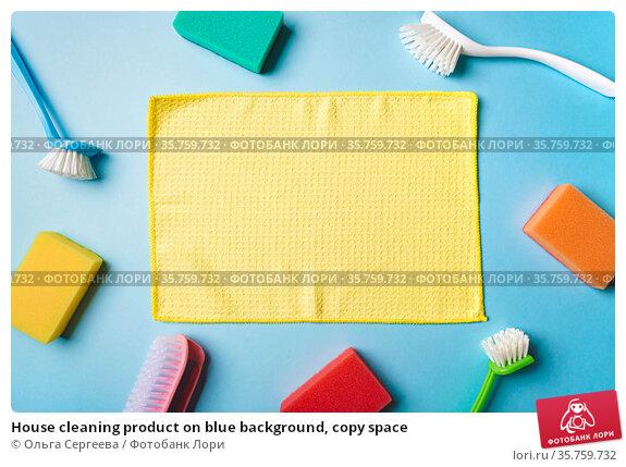 House cleaning product on blue background, copy space. Стоковое фото, фотограф Ольга Сергеева / Фотобанк Лори