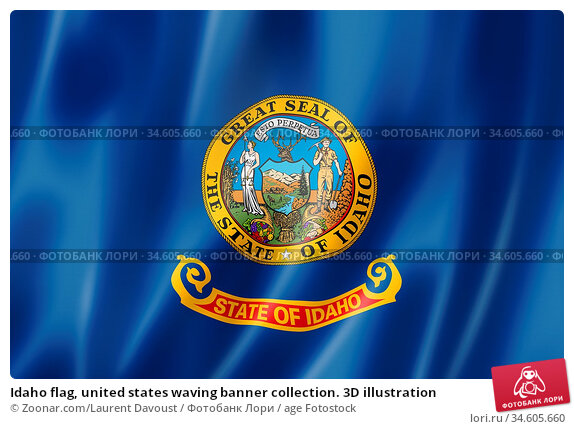 Idaho flag, united states waving banner collection. 3D illustration. Стоковое фото, фотограф Zoonar.com/Laurent Davoust / age Fotostock / Фотобанк Лори