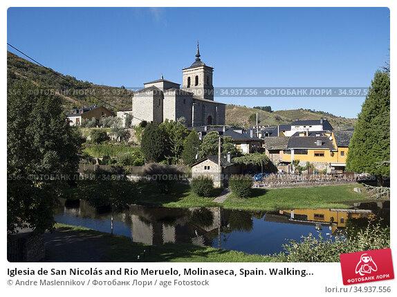Iglesia de San Nicolás and Rio Meruelo, Molinaseca, Spain. Walking... Стоковое фото, фотограф Andre Maslennikov / age Fotostock / Фотобанк Лори