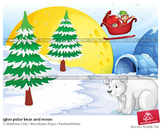 igloo polar bear and moon. Стоковая иллюстрация, иллюстратор Matthew Cole / PantherMedia / Фотобанк Лори