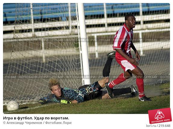 Купить «Игра в футбол. Удар по воротам.», фото № 219648, снято 27 сентября 2001 г. (c) Александр Черемнов / Фотобанк Лори