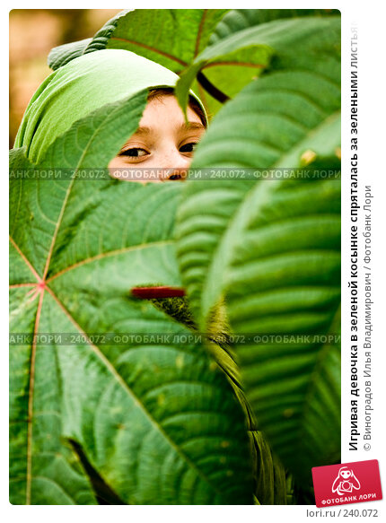 Игривая девочка в зеленой косынке спряталась за зелеными листьями, фото № 240072, снято 1 ноября 2007 г. (c) Виноградов Илья Владимирович / Фотобанк Лори