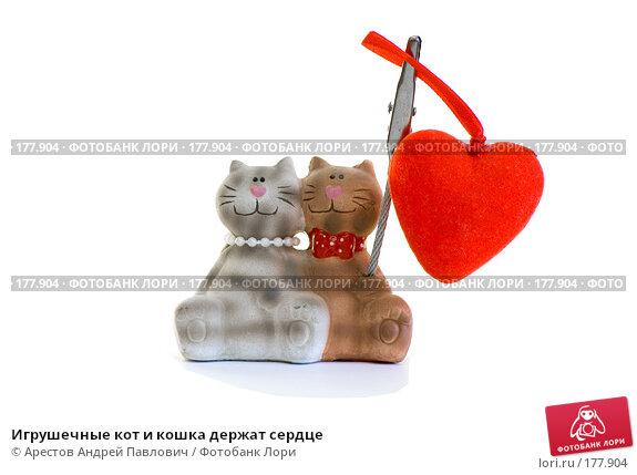 Игрушечные кот и кошка держат сердце, фото № 177904, снято 13 января 2008 г. (c) Арестов Андрей Павлович / Фотобанк Лори