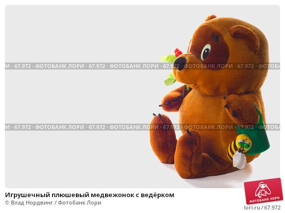 Игрушечный плюшевый медвежонок с ведёрком, фото № 67972, снято 23 июня 2007 г. (c) Влад Нордвинг / Фотобанк Лори