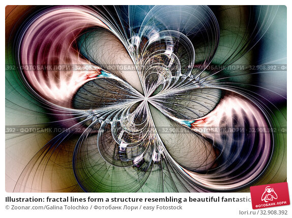 Illustration: fractal lines form a structure resembling a beautiful fantastic butterfly. Стоковое фото, фотограф Zoonar.com/Galina Tolochko / easy Fotostock / Фотобанк Лори