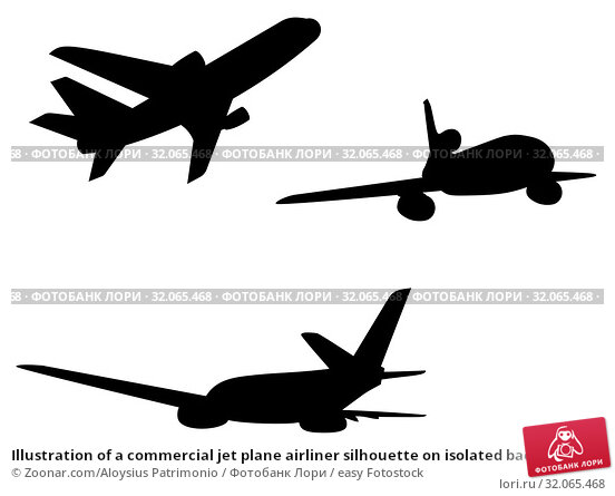 Illustration of a commercial jet plane airliner silhouette on isolated background. Стоковое фото, фотограф Zoonar.com/Aloysius Patrimonio / easy Fotostock / Фотобанк Лори