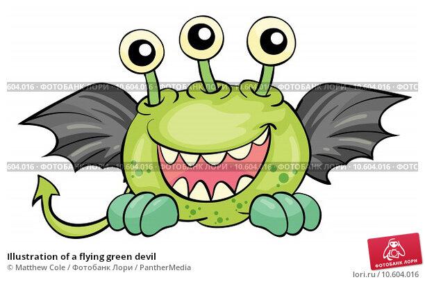 Illustration of a flying green devil. Стоковая иллюстрация, иллюстратор Matthew Cole / PantherMedia / Фотобанк Лори