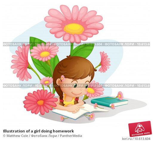 Illustration of a girl doing homework. Стоковая иллюстрация, иллюстратор Matthew Cole / PantherMedia / Фотобанк Лори