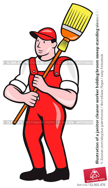 Illustration of a janitor cleaner worker holding broom sweep standing viewed from front set inside circle done in cartoon style. Стоковое фото, фотограф Zoonar.com/aloysius patrimonio / easy Fotostock / Фотобанк Лори