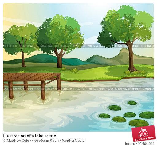 Illustration of a lake scene. Стоковая иллюстрация, иллюстратор Matthew Cole / PantherMedia / Фотобанк Лори