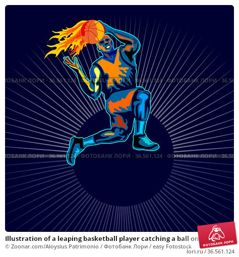 Illustration of a leaping basketball player catching a ball on fire... Стоковое фото, фотограф Zoonar.com/Aloysius Patrimonio / easy Fotostock / Фотобанк Лори