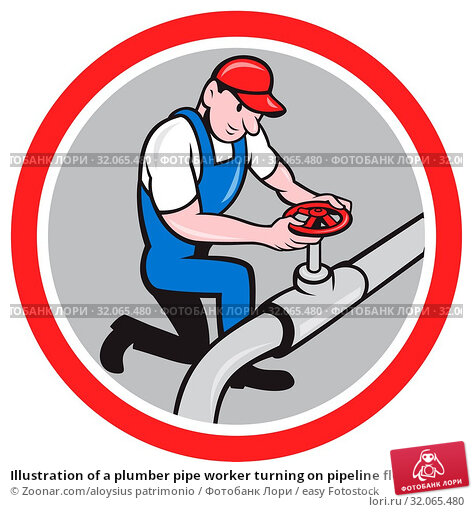 Illustration of a plumber pipe worker turning on pipeline flow set inside circle done in cartoon style on isolated background. Стоковое фото, фотограф Zoonar.com/aloysius patrimonio / easy Fotostock / Фотобанк Лори