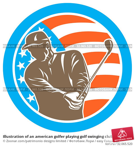 Illustration of an american golfer playing golf swinging club set inside circle with USA stars and stripes flag on isolated background done in retro style. Стоковое фото, фотограф Zoonar.com/patrimonio designs limited / easy Fotostock / Фотобанк Лори