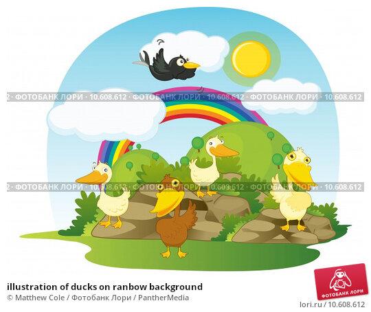 illustration of ducks on ranbow background. Стоковая иллюстрация, иллюстратор Matthew Cole / PantherMedia / Фотобанк Лори