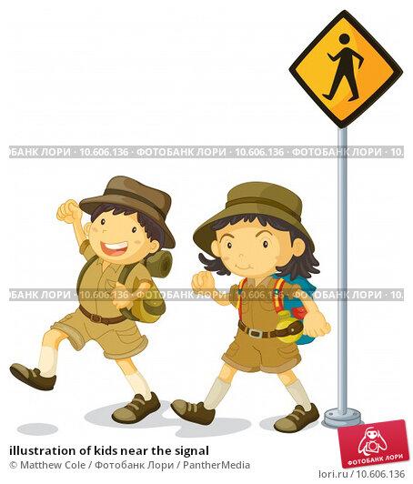 illustration of kids near the signal. Стоковая иллюстрация, иллюстратор Matthew Cole / PantherMedia / Фотобанк Лори