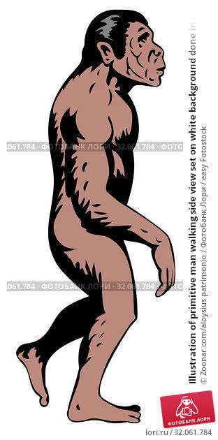 Illustration of primitive man walking side view set on white background done in retro style. Стоковое фото, фотограф Zoonar.com/aloysius patrimonio / easy Fotostock / Фотобанк Лори