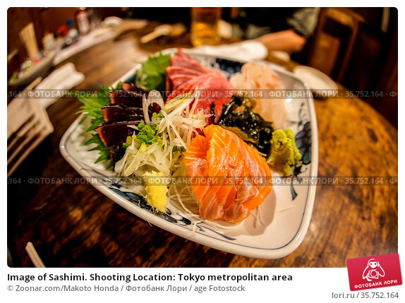 Image of Sashimi. Shooting Location: Tokyo metropolitan area. Стоковое фото, фотограф Zoonar.com/Makoto Honda / age Fotostock / Фотобанк Лори