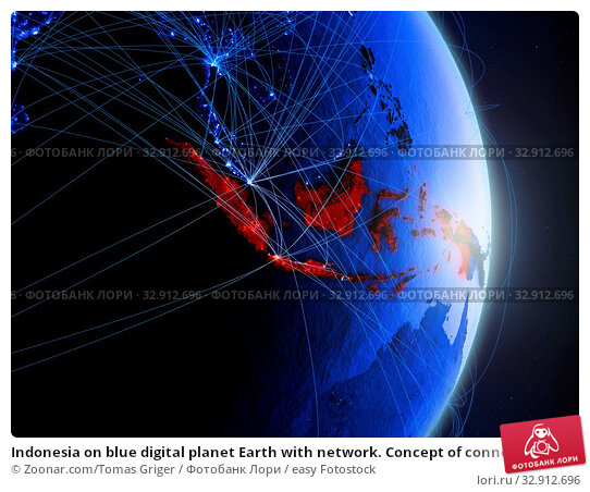 Indonesia on blue digital planet Earth with network. Concept of connectivity, travel and communication. 3D illustration. Elements of this image furnished by NASA. Стоковое фото, фотограф Zoonar.com/Tomas Griger / easy Fotostock / Фотобанк Лори