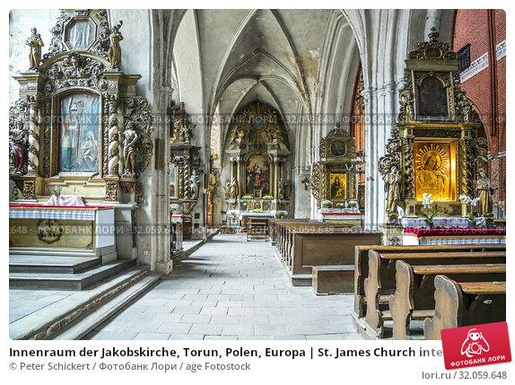 Innenraum der Jakobskirche, Torun, Polen, Europa | St. James Church interior, Torun, Poland, Europe. Стоковое фото, фотограф Peter Schickert / age Fotostock / Фотобанк Лори